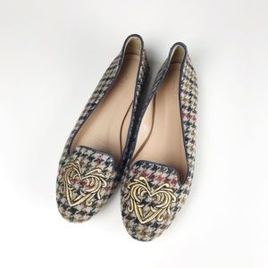 J. Crew Sophie Houndstooth Wool Embroidered Loafer